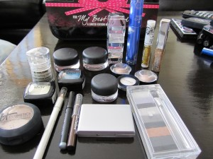 paint pots, mascaras, glitter liners, gel liners, and shadows!