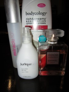 Miracle 10, bodycology body lotion, jurlique sunscreen, Chanel Coco Mademoiselle