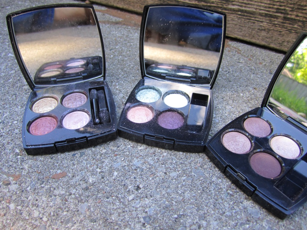 eyeshadow quads from Chanel L-R: Harmonie du Soir, Delicatesse, Raffinement